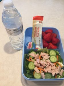 Blue lunchbox with water, salad, berries, cheese, and fruit leather. Drink is a bottle of water