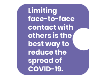 Limiting face-to-face contact with others is the best way to reduce the spread of COVID-19.